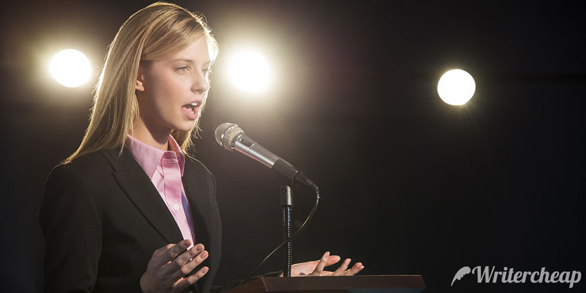 Student Delivering a Public Speech